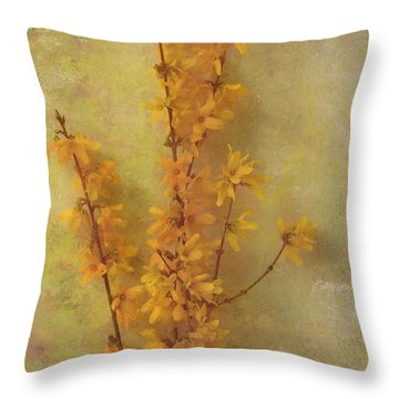 Spring Forsythia Throw Pillow