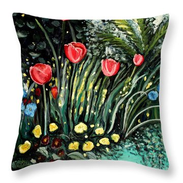 Throw Pillow featuring the painting Spring Garden by Elizabeth Robinette Tyndall