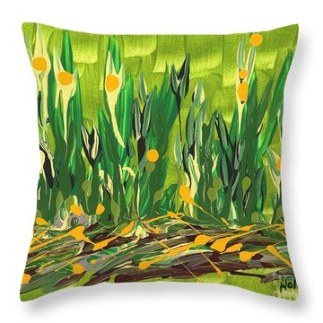 Throw Pillow featuring the painting Spring Garden by Holly Carmichael