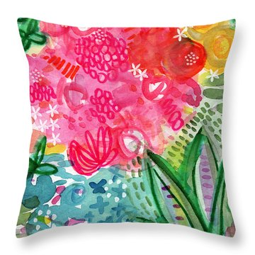 Spring Garden- Watercolor Art Throw Pillow