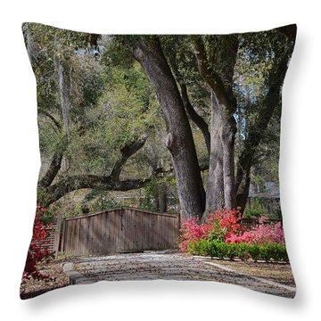 Spring Gate Throw Pillow by Linda Brown