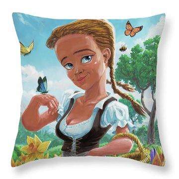 Throw Pillow featuring the digital art Spring Girl by Martin Davey