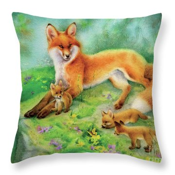 Spring Glade, Fox And Cubs Throw Pillow