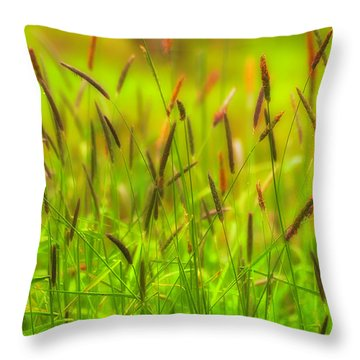 Spring Grasses Throw Pillow