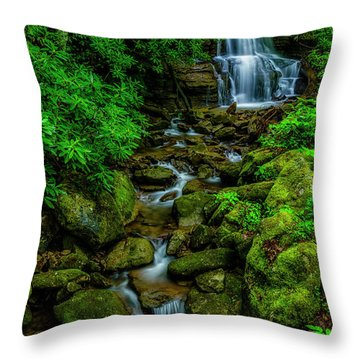 Spring Green Waterfall And Rhododendron Throw Pillow