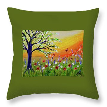 Throw Pillow featuring the painting Spring Has Sprung by Sonya Nancy Capling-Bacle