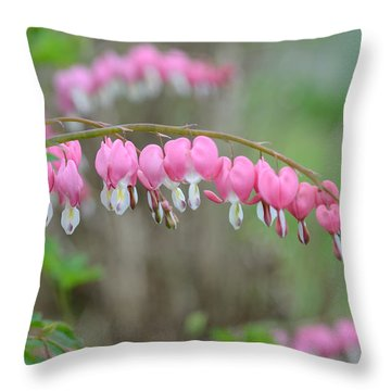 Spring Hearts Throw Pillow