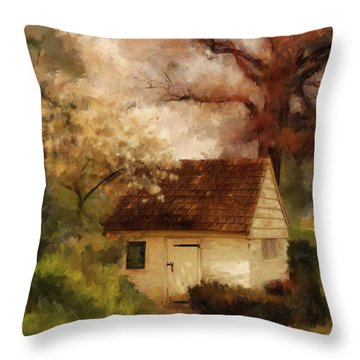Throw Pillow featuring the digital art Spring House In The Spring by Lois Bryan