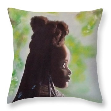 Throw Pillow featuring the painting Spring In Africa by Annemeet Hasidi- van der Leij