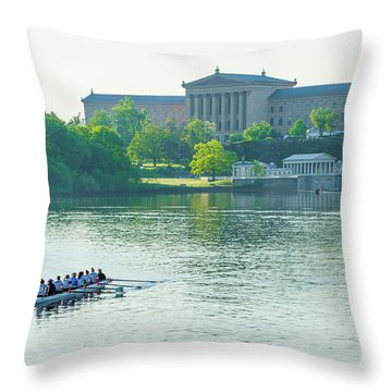 Throw Pillow featuring the photograph Spring In Philadelphia - Rowing Crew by Bill Cannon