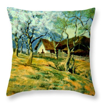 Throw Pillow featuring the painting Spring In Poland by Henryk Gorecki