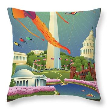 Kite Festival Digital Art Throw Pillows