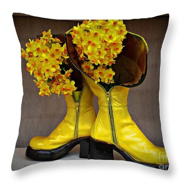 Spring In Yellow Boots Throw Pillow