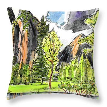Throw Pillow featuring the painting Spring In Yosemite by Terry Banderas