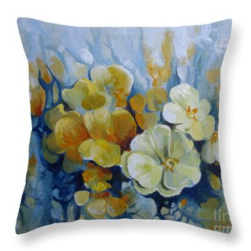 Throw Pillow featuring the painting Spring Inflorescence by Elena Oleniuc