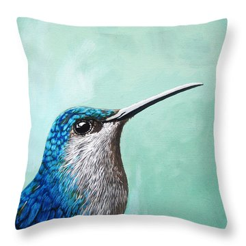 Spring Is Humming - Hummingbird Painting Throw Pillow