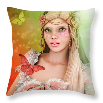 Throw Pillow featuring the digital art Spring Is In The Air by Jutta Maria Pusl