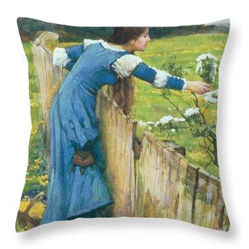 Spring Throw Pillow by John William Waterhouse