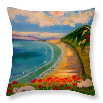 Spring Lambs At Rhossili Bay Throw Pillow