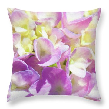 Throw Pillow featuring the photograph Spring Lavender Hydrangea Painterly 1 by Andee Design