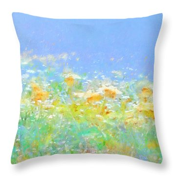 Spring Meadow Abstract Throw Pillow by Menega Sabidussi