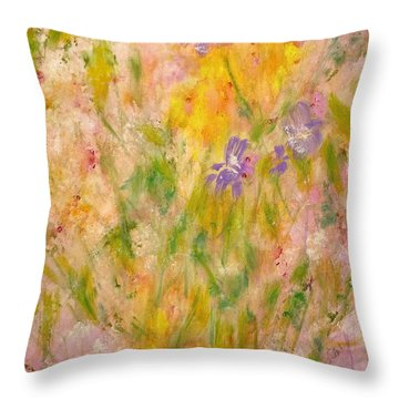 Throw Pillow featuring the painting Spring Meadow by Claire Bull