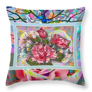 Throw Pillow featuring the digital art Spring Medley by Eleni Mac Synodinos