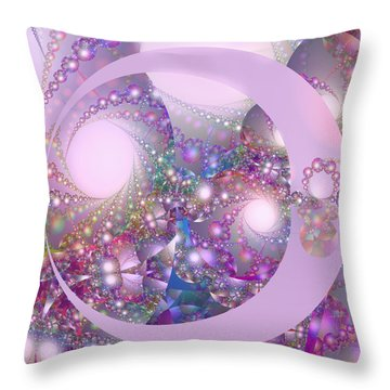 Spring Moon Bubble Fractal Throw Pillow