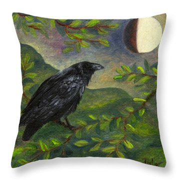 Spring Moon Raven Throw Pillow