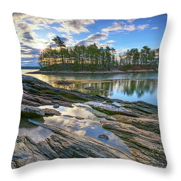 Spring Morning At Wolfe's Neck Woods Throw Pillow