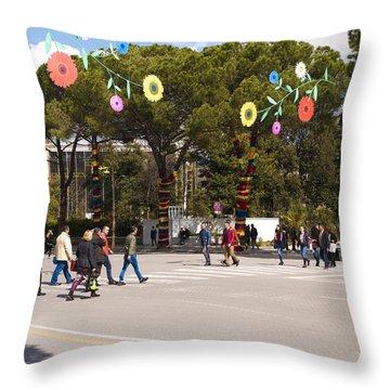 Spring On Deshmoret E Kombit Boulevard Throw Pillow by Rae Tucker