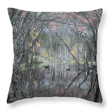 Spring On The Backwater Throw Pillow