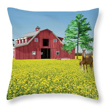 Spring On The Farm Throw Pillow by Bonnie Barry
