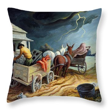 Throw Pillow featuring the painting Spring On The Missouri by Thomas Hart Benton