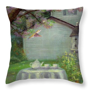 Spring Orchard Teatime Throw Pillow