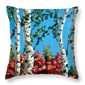 Throw Pillow featuring the painting Spring Palette by Jim Phillips