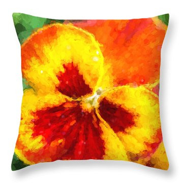 Throw Pillow featuring the photograph Spring Pansy by Cathy Donohoue