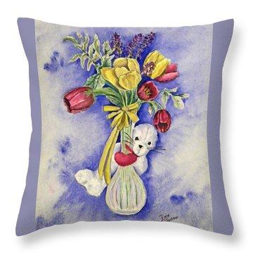 Spring Peek-a-boo I Love You Throw Pillow