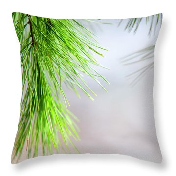 Spring Pine Abstract Throw Pillow by Christina Rollo