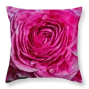 Spring Pink Roses Throw Pillow