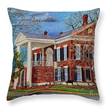 Spring Planting At The Dahlonega Gold Museum Throw Pillow