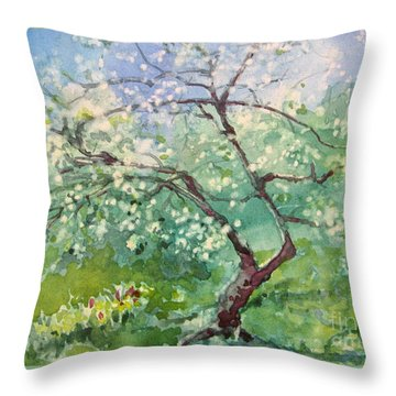 Spring Plum Throw Pillow by Elizabeth Carr