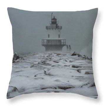 Spring Point Ledge Light Blizzard  Throw Pillow