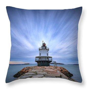 Spring Point Ledge Light Station Throw Pillow by Rick Berk