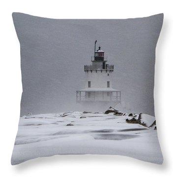 Spring Point Ledge Lighthouse Blizzard Throw Pillow