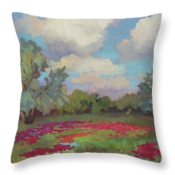Throw Pillow featuring the painting Spring Poppies by Diane McClary