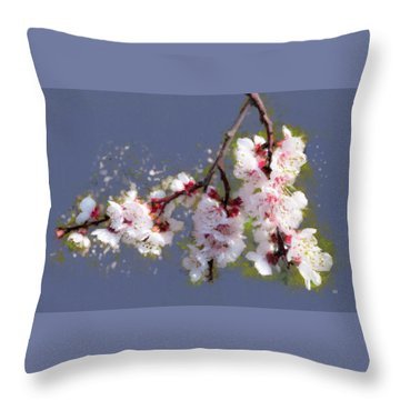 Spring Promise - Apricot Blossom Branch Throw Pillow