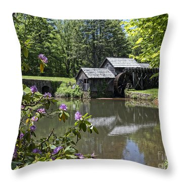 Spring Reflections Of An Ancient Mill Throw Pillow