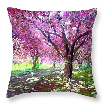 Spring Rhapsody, Happiness And Cherry Blossom Trees Throw Pillow