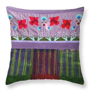 Throw Pillow featuring the tapestry - textile Spring Rising by Chholing Taha